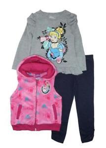 Disney Princess Girls Cinderella Fluffy Vest 3pc Legging Set Size 2T 3T 4T