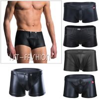 Sexy Men's Boxer Briefs Leather Underwear Swim Shorts Thongs Bikini Underpants