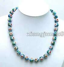"""Round 12mm Sky-blue Cloisonne Necklace for Women 20"""" & Tibetan Silver Beads 5363"""