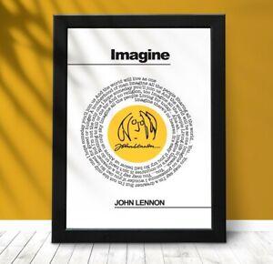 John Lennon Print, John Lennon Lyric Print, Imagine Poster, The Beatles