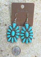 Western Cowgirl Concho Faux Turquoise Stone Silver Hook Gypsy Dangle Earrings