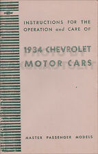 1934 Chevy Master Car Owners Manual 34 includes Sedan Delivery User Instructions