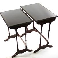 Vintage Regency Style Inlaid Mahogany Nest of 2 Tables - FREE Shipping [4879]