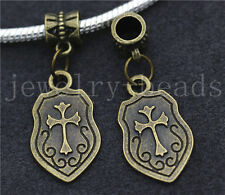 6/30/100pcs Antique Bronze Cross Shield Bulk Dangle European Charm Bracelet New