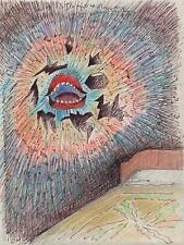 ABSTRACT SURREALIST SCREAM MOUTH BEDROOM Drawing ARTHUR MITSON c1985 SURREALISM