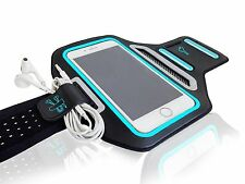 "Universal Smartphones 5.5"" Blue Lycra Armband Sports Reflective Headphone Tie"