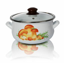 Enamel Coated Cooking Pot with lid 18 cm Mushroom White Casserole Pan Stockpot