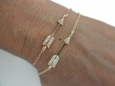 Rose Gold on Sterling Silver Sideways Arrow CZ Dainty Chain Bracelet Valentine