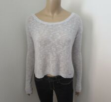 Hollister Womens Crop Knit Sweater Size Small Gray Top Shirt