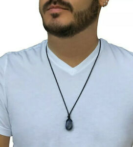 Natural Sodalite Pendant Necklace Mens Healing Stone Christmas Gift Unisex NEW