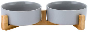 HCHLQLZ Grey Ceramic Cat Dog Bowl Dish with Wood Stand No Spill Pet Food Water 2