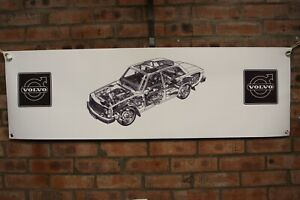 Volvo 240 BERLINA large pvc WORK SHOP BANNER garage SHOW banner