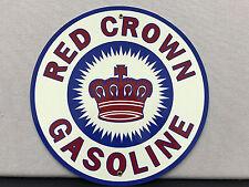 Red Crown Gasoline advertising round sign garage man cave oil gas