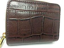 Fossil Jori Brown Croco Wallet Bifold Leather Zip Flip Womens RFID Alligator