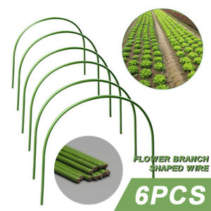 6x Greenhouse Hoops Grow Tunnel Plant Cover Support Frame for Garden Stake set