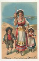 Spanish? Family with Wine Bottles, Cute Children Boy and Girl Vintage Postcard