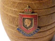 BARILE di legno in miniatura vintage VASCA SILVER JUBILEE IN SMALTO BADGE 1935 King George V