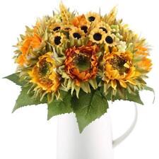 2pcs Artificial Sunflower Silk Plant Bridal Bouquet Wedding Flower Home Decor