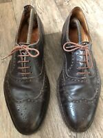 Brogues Dark Brown 8.5 Wide Fit Vintage Full Leather Lace