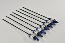 Set of 7 ROSENTHAL - Grill Blue - Stainless Steel - Ceramic - FONDUE FORK 13.5""