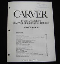 Original Carver TLM-3600 CD Changer Service Manual