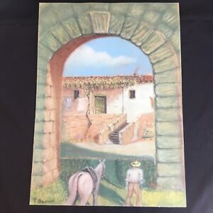 Vintage Latin American Mexican Pastel Painting Signed Mystery Artist Listed ?