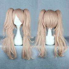 Danganronpa Junko Enoshima Cosplay Wig Long Pink Curly Synthetic Hair Fancy Dres