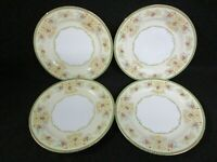 """4 Meito Japan Hand Painted China Floral Scroll Salad Plates 7 3/4"""" (CI)"""