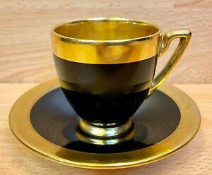 "Carlton Ware Art Deco ""Black/Gold"" Pattern Coffee Cup & Saucer."