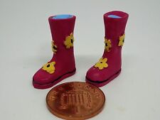 PINK Flowers Wellies, Dolls House Miniature Wellington Boots