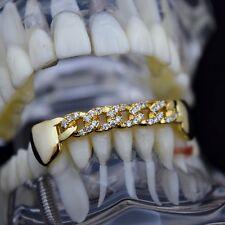 CZ Cuban Link Grillz 14k Gold Plated Hip Hop Bottom Cubic Zirconia Bling Teeth