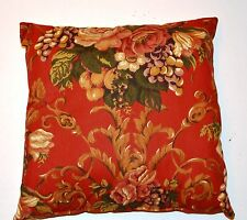Handmade Home Decorating Burnt Red Fruit and Rose Decorative Pillow