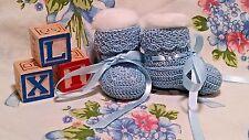 "Booties 0-3 Mo Baby Boys Blue  Handmade Crochet 3.5""x1.5"" Cotton Thread Reborn"