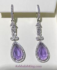 Platinum Sterling Silver Pave White Sapphire Purple Amethyst Chandelier Earrings