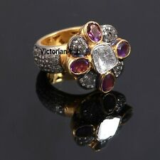 925 Sterling Silver Rose Cut Diamond Polki Amethyst Gemstone Anniversary Ring