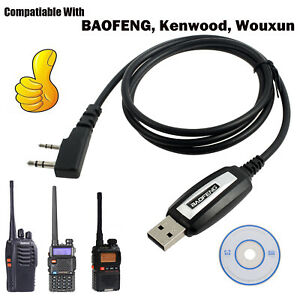 USB Programming Cable & Program Software CD for Baofeng Kenwood Wouxun Radios