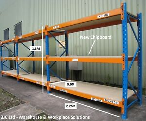 3 Bays Dexion Pallet Storage Racking  2.25M x 0.9M x 1.8M Chipboard Timber Mesh