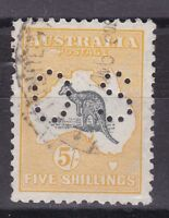 K172) Australia 1915 5/- Deep  Grey & Yellow Kangaroo 2nd wmk perfOS