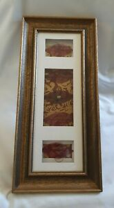 ❀ڿڰۣ❀ HAND CRAFTED Deep Red & Old Gold FLORAL & WIRE COLLAGE Framed WALL ART ❀