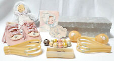 Baby Items Celluloid Blanket Clips Booties Rattle Shower Gifts Cards Vintage Lot