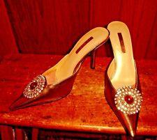 Ann Marino Gold Metallic High Heel Mules Rhinestones Shoes Size 6 1/2 M