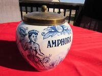 Antique Delft Blue Amphora Tobacco Humidor w/ Lid-Hand Painted Holland