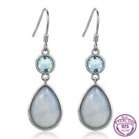925 Silver Oval Aquamarine Pear Natural Moonstone Jewelry Hook Earring Wholesale