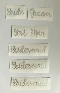 Wedding Vinyl Decal Stickers - Set of 6 - for Glasses etc