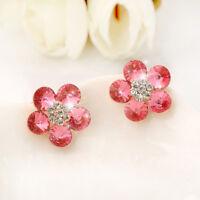 Stunning 18K Rose Gold Filled Women's Girls 16mm Crystal Flower Clip On Earrings