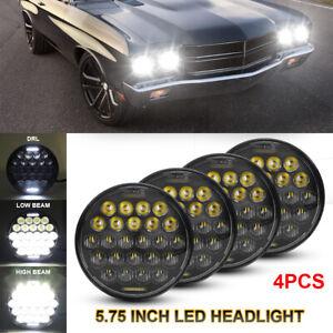 4x 5-3/4 5.75Inch Round LED Headlight Halo DRL For Chevy Impala El Camino Estate