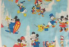 Vtg Disney Mickey Mouse and Friends Bed Sheet Twin Size Flat Sheet Pillowcase