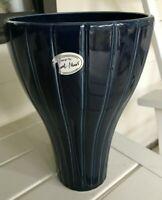 IKEA Cobalt Blue Large Vase 9 1/2 In Tall-Ridged-Original Stickers-Design MariaV