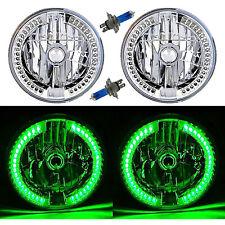 "7"" Green Split LED Halo Angel Eye Headlight Halogen Headlamp 60W Light Bulb Pair"