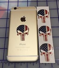 3 PUNISHER AMERICAN SNIPER COLOR FLAG SKULL CELL PHONE VINYL DECAL STICKER JDM